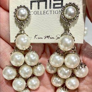 Large Silver Tone Faux Pearl Drop Pierced Earrings